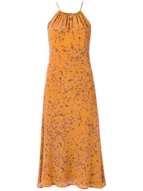 Andrea Marques dress midi dress women midi silk yellow orange
