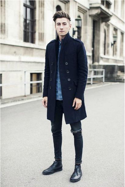 jacket overcoat slim overcoats blue
