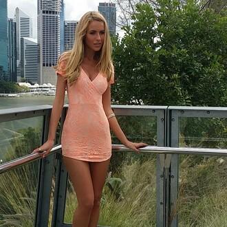 xeniaboutique xenia peach dress bodycon skirt party dress short dresses printed dress