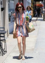 romper,summer outfits,lily collins,sandals,shorts,dress