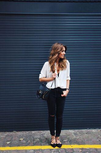 blouse lace up ballet lace up flats black jeans ripped jeans black ripped jeans white blouse button down blouse black crossbody bag blogger monochrome