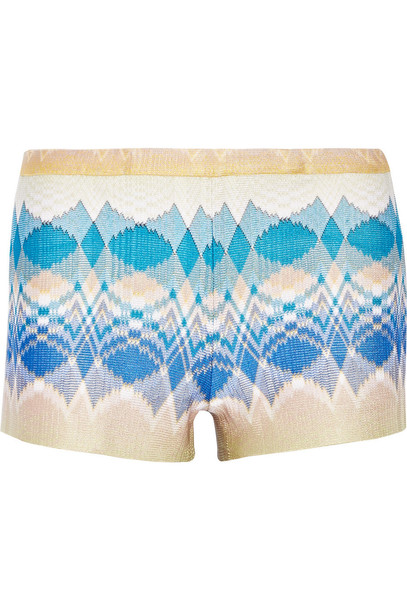 shorts knit metallic crochet blue neutral