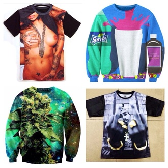 sweater naked girl lean multicolor weed tupac middle finger crewnecks