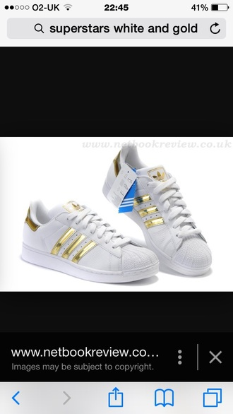 shoes white and gold adidas superstars