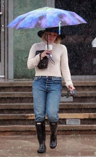 sweater fall outfits fall sweater hilary duff boots rain jeans denim turtleneck shoes