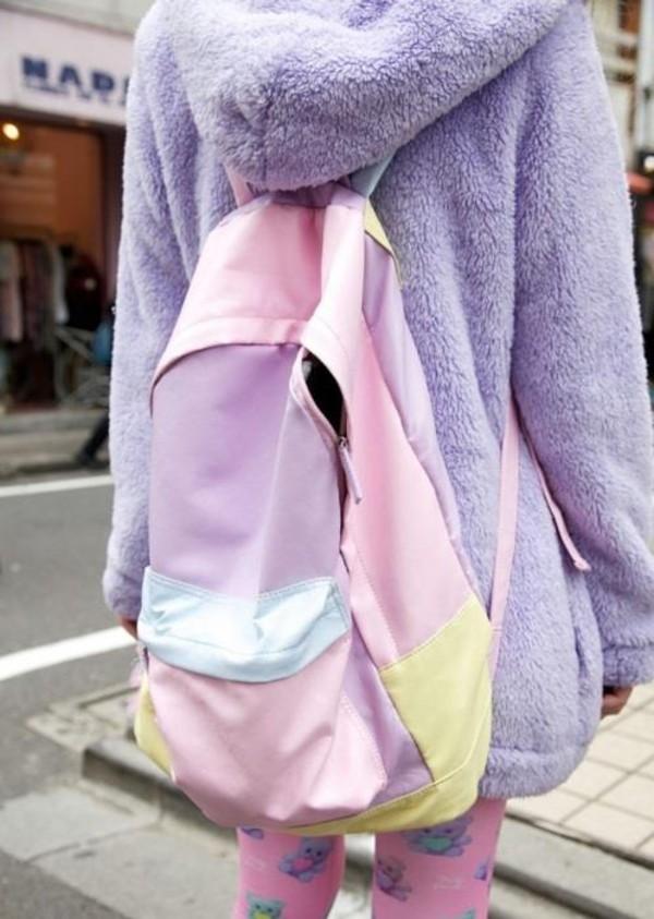 bag backpack pastel tumblr hipster pants kawaii bag coat purple pastel purple cute sweet kawaii kawaii kawaii hoodie lovely comfy nice fluffy soft colorful
