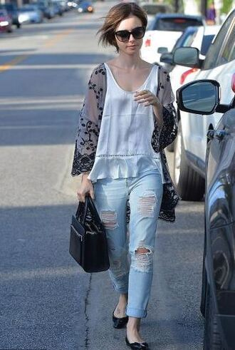 top blouse lily collins ripped jeans jeans denim