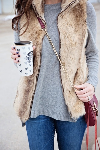 jacket faux fur vest