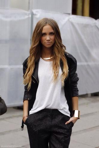 jacket leather jacket pants black love more white black and white black and white blouse gold jewels tank top necklace shirt