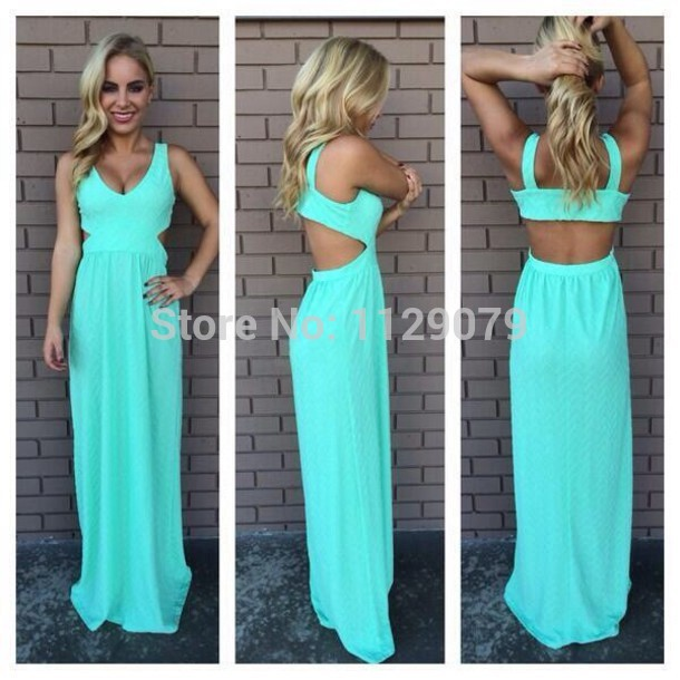 cute turquoise long dress mint maxi blue blackless pretty cut out casual sexy summer dress prom OM133-in Dresses from Apparel & Accessories on Aliexpress.com | Alibaba Group