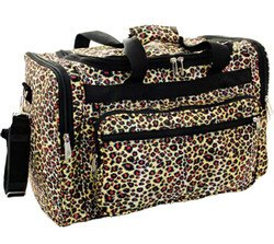 16 Leopard Print Duffle Dance Gym Bag Travel Luggage Carry On Black Brown