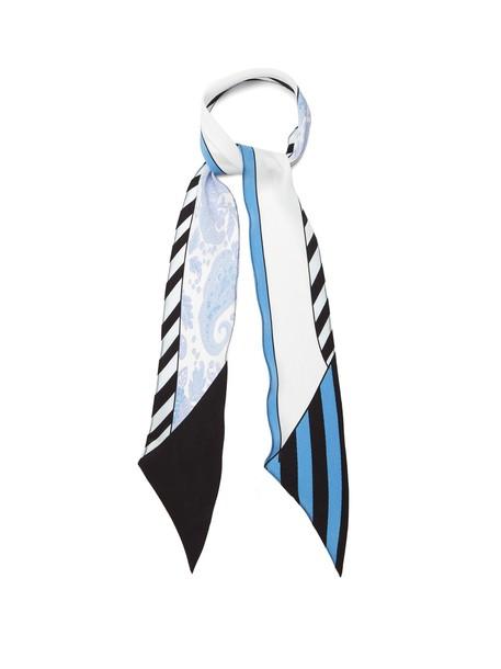Rockins scarf silk scarf print silk paisley blue