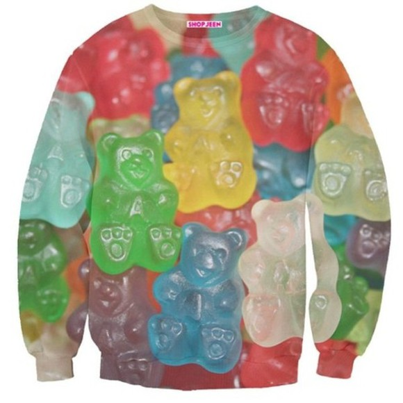 sweater food yellow red gummy bears blue green