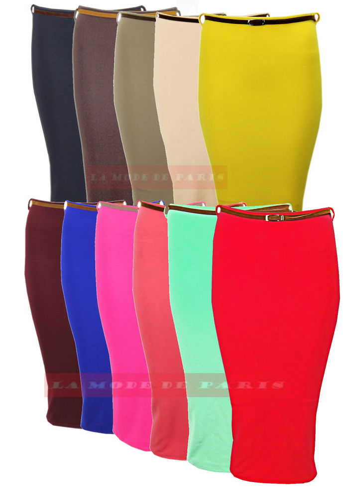 P97 Bodycon Pencil Skirt Womens High Waisted Belted Rib Bandage Office New | eBay