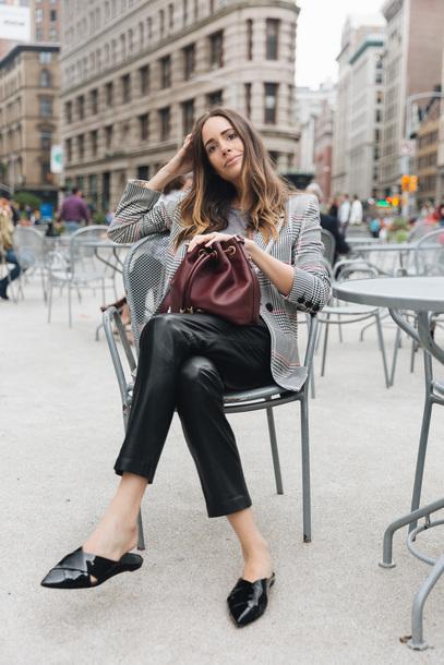 louise roe blogger bag jacket pants sunglasses bucket bag loafers blazer black pants fall outfits