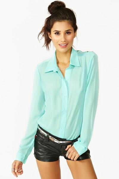 Nasty gal green studded diamond blouse