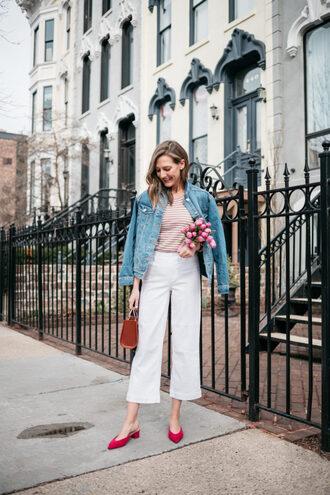 shoes red shoes pants white pants top denim jacket denim bag handbag brown bag