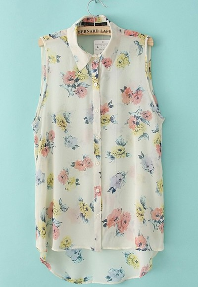 shirt floral pink flowers blue white yellow