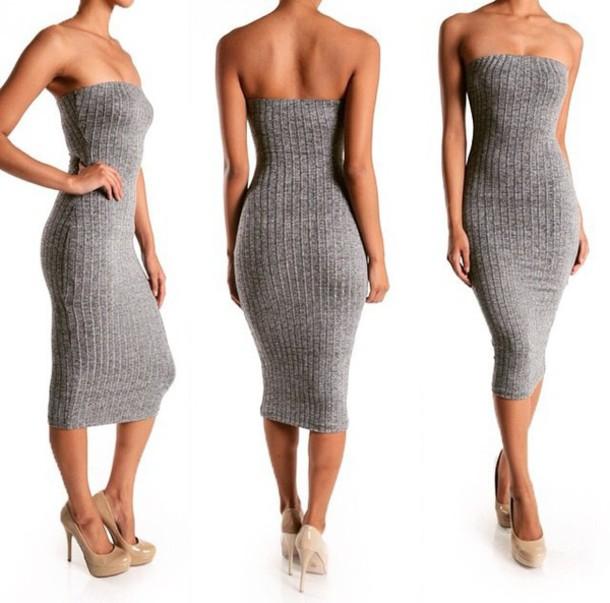 Black strapless knit dress