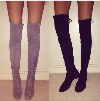 shoes suede boots black boots thigh high boots