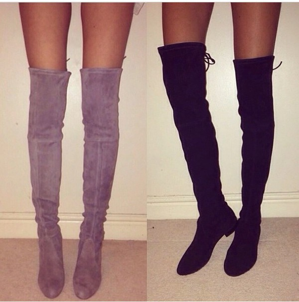 Black Stretch Suede Laced Back Heeled Over the Knee Boots - Choies.com
