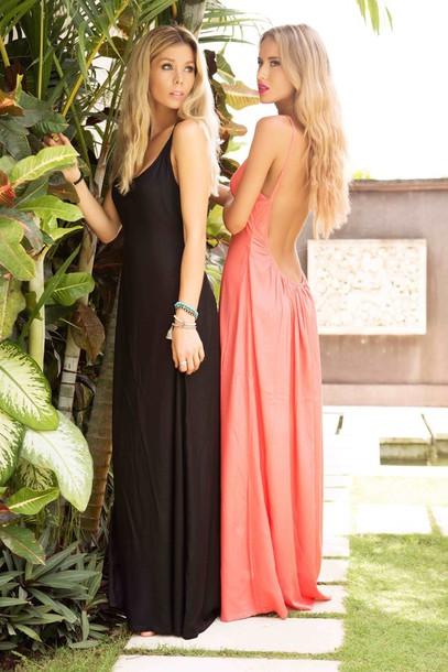 dress maxi dress maxi open back dresses coral coral dress open back dresses black dress black little black dress Plumeria Swimwear