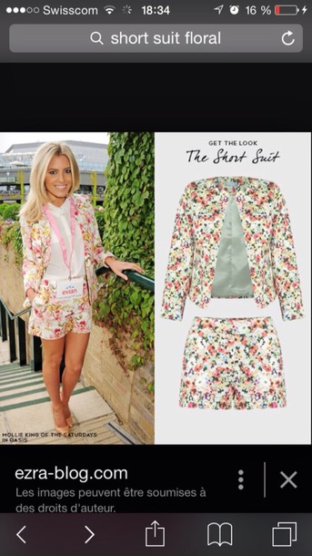 jacket floral short suit two-piece matching shorts and top matching set