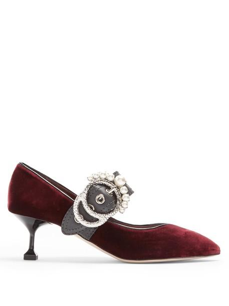 Miu Miu pearl embellished pumps velvet burgundy shoes