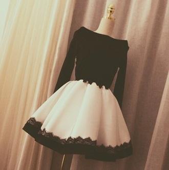 dress black lace white long sleeved short