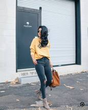 sweater,tumblr,yellow,yellow sweater,denim,jeans,grey jeans,skinny jeans,ripped jeans,boots,ankle boots,grey boots,bag,suede,suede boots,sunglasses