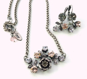 jewels,siggy jewelry,swarovski,pendant,flowers,victorian,vintage inspired,romantic,pink,grey,rose petals,silver pendant,crystal pendant,flower pendant,jewelry set,gifts for her,fashion,fashionista,fashion blog,boutique jewelry