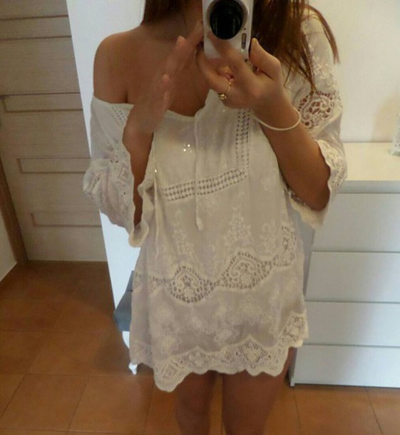 76d90430505b3 blouse white blouse embroidered summer boho beach top white lace lace white  ethnic embroidered summer outfits