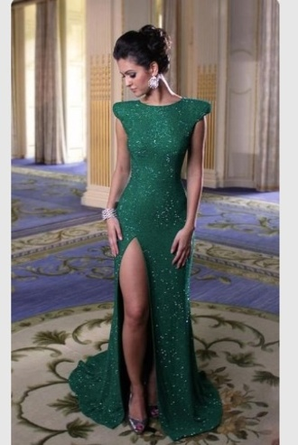 sparkly dress green dress slit dress green prom dress