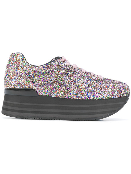 Hogan maxi glitter women sneakers leather shoes