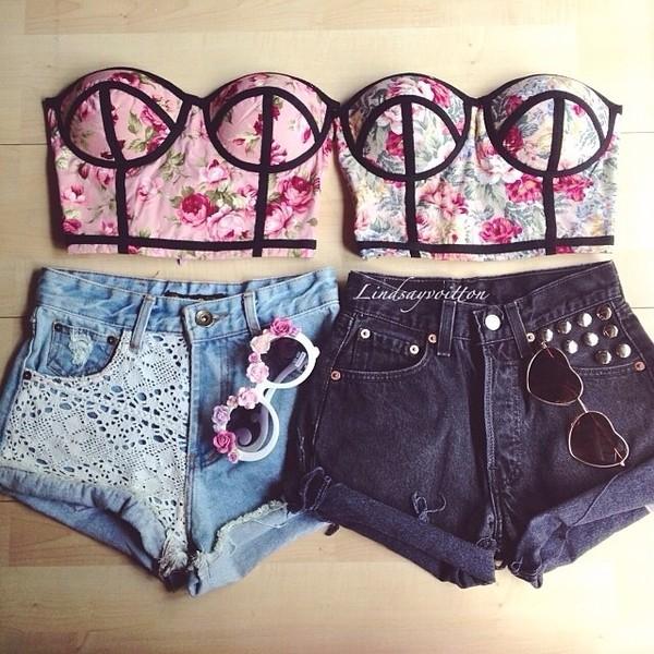 jeans crochet tank top sunglasses bustier twins denim hipster High waisted shorts high waisted li