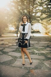 stephanie sterjovski - life + style,blogger,dress,shoes,bag,fall outfits,pumps,black and white,blouse
