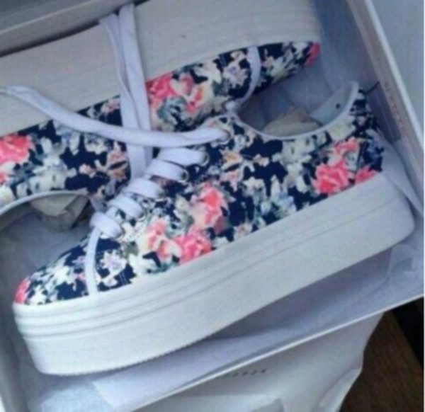 shoes sneakers platform shoes floral