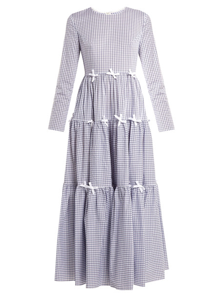 Huishan Zhang dress midi dress bow midi white blue