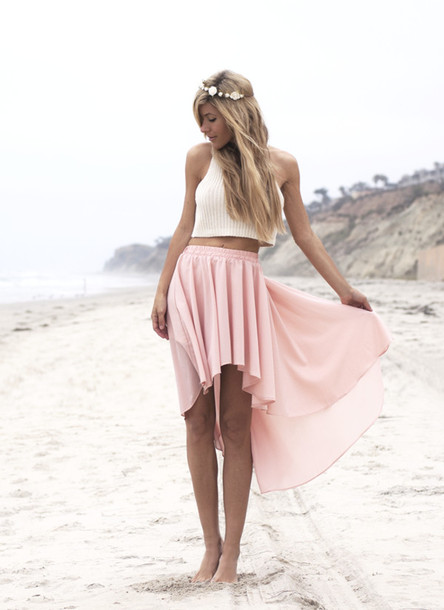 t-shirt skirt pink pretty white high low skirt pastel beach pastel pink high low skirt