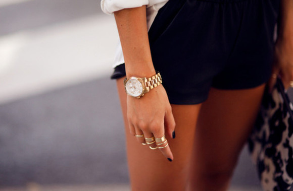 jewels watch golden rings shorts black shorts chemise