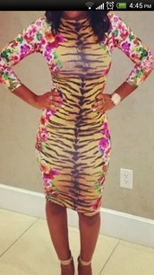 dress,floral dress,tiger print,tiger stripe,bodycon dress