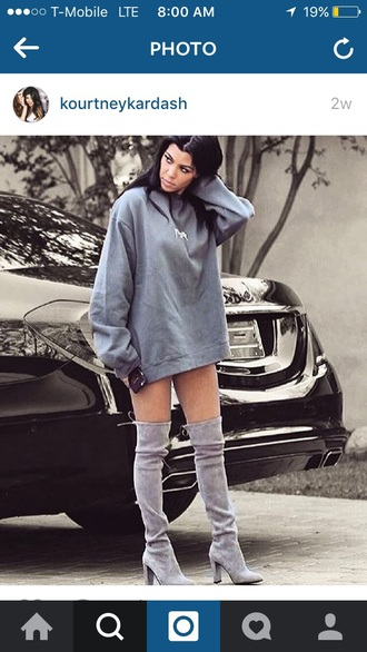 shoes kourtney kardashian suede boots grey boots