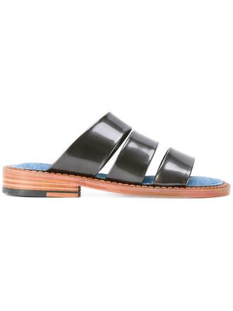 women sandals leather cotton black shoes