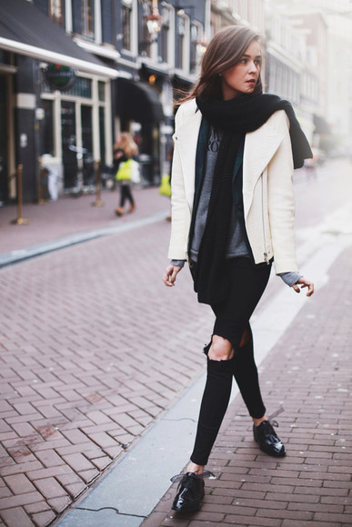style scrapbook jacket shoes bag sweater jeans