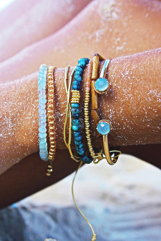 jewels bracelets summer stones blue brown turquoise gold bangle sand tan ocean surf turquoise jewelry teal bracelets light blue beach summer outfits fashion amazing fab beautiful