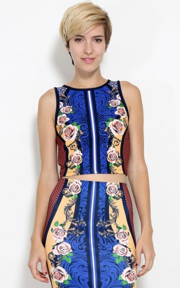 Roses And Paisley Crop Top   MakeMeChic.com