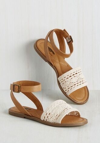 shoes boho flat sandals white lace brown sandals