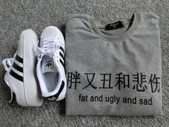 sweater t-shirt gray japanese fashion