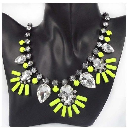Hot New Fashion Neon Yellow Flower Resin Bib Statement Collar Necklace Free | eBay