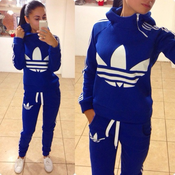 blue and white striped winter sweater blue jumpsuit adidas zip tracksuit bottoms sweatsuit hoodie collar sportswear pants jacket